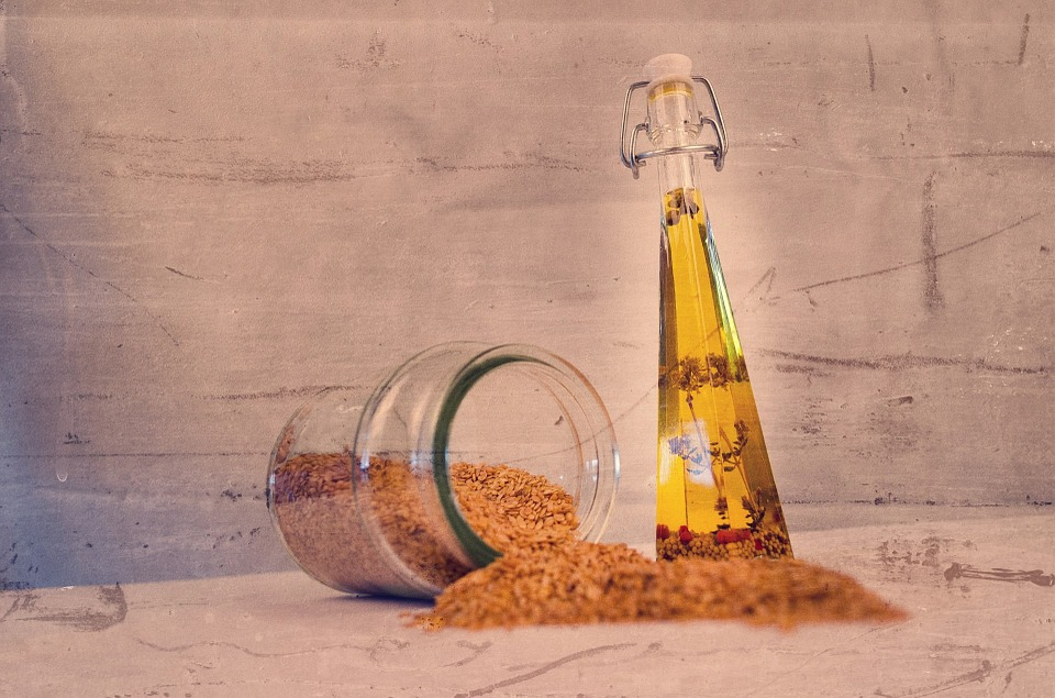 Sesame Seed and a bottle of Sesame Seed Oil