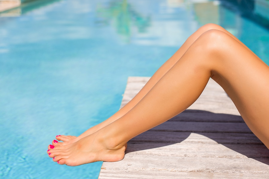 legs wearing a tanning lotion