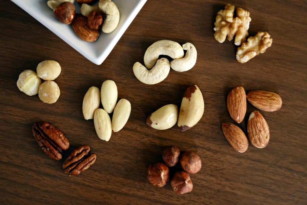 almonds, beans and nuts are good for the body to keep the skin healthy
